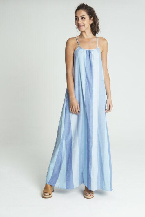 Vestido largo rayas multicolor azul