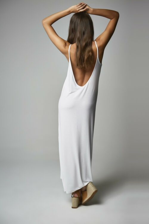 Vestido Escote Espalda Blanco 2